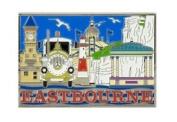 Eastbourne Montage Foil Stamped Fridge Magnet Souvenir Sussex Collage New