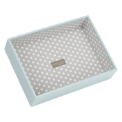 STACKERS 'CLASSIC SIZE' Duck Egg Blue Deep Open Section STACKER Jewellery Box with Grey Polka-Dot Lining.