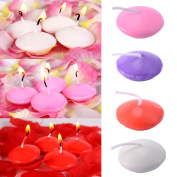 Sundlight Floating Candles for Weddings, Home Decoration, Relaxation, Spa, Smokeless Cotton Wick Pack of 10 - Red