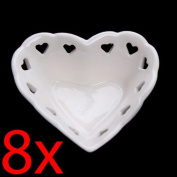 8 X HEART SHAPE RINGS TRINKET JEWELLERY DISH FUN GIFT VINTAGE RING NECKLACE GOLD