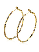Women Gold Hoop Earrings with Yellow Gold Plated Jewellery Gift for Girls 44mm Borong