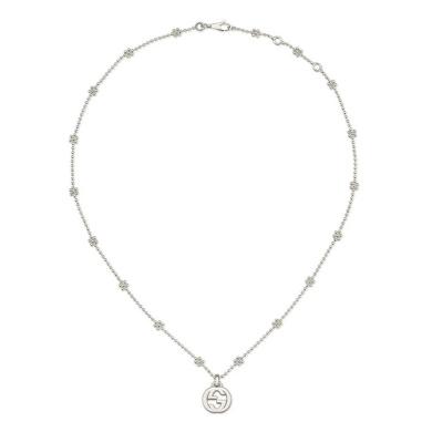Gucci Interlocking G silver necklace 40cm YBB47922100100U