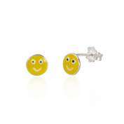 Sterling Silver enamel smile earrings / emoji / smiley face / stud / Gift box