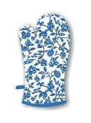E2e Blue Floral Heat Resistant Single Oven Glove Kitchen Baking Gauntlet Mitt