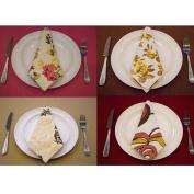 4 X Cotton Linen Napkin Polyester Handkerchief Diner Wedding Table Party Décor