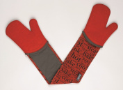 Zeal Silicone Heavy Duty Double Oven Gloves Mitts Red (94 cm Long) – Script