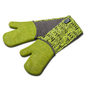 Zeal Silicone Heavy Duty Double Oven Gloves Mitts Lime Green (94 cm Long) – Script