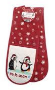 Country Club Christmas Penguins Double Oven Glove Mitt Xmas Kitchen Textile