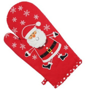 Brookes And Mason Father Christmas Santa Embroidered Oven Glove, Red