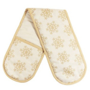 The Seasons Range Sparkle Christmas 100% Cotton Double Oven Glove, Cream/gold