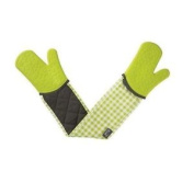 Double Oven Gloves Silicone - Gingham Lime