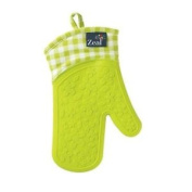 Silicone Gauntlet Oven Glove In Gingham Lime