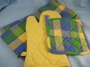 Kitchen Textile Pot Holder And T-towel Set, Cheque Design 'azure' Pack 4pcs