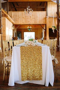 Shinybeauty Sequin Table Runner Gold Rectangle Sequin Table Runner 30cm x 230cm Table