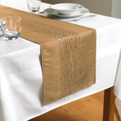 Embroidered Taffeta Table Runners- Gold- Tab110474