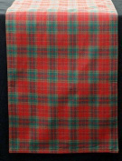 Table Runner In A Red And Green Plaid Design Derived From Scottish Tartan. Table