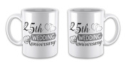 Pair of Wedding Anniversary (25th Silver) - Two Hearts Novelty Gift Mugs