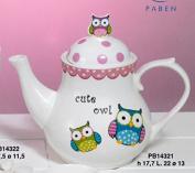 Porcelain Teapot Owl Owl Spirit