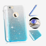 "iPhone 7 Plus 2016 Silicone Case,iPhone 7 Plus 2016 Glitter Case,Estue Novelty Creative 3 in 1 Bling Glitter Sparkle Soft Gel Thin Tpu Rubber Protective Case Cover for iPhone 7 Plus 5.5""+Blue Stylus Pen+Bling Glitter Diamond Dust Plug(Colours Random)-G .."