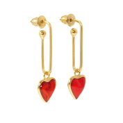 Gripoix Paris Women's Gold Plated Brass Red Hearts Shaped Pierced Paperclip Earrings