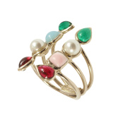 Gripoix Paris Women's Gold Plated Brass Multicolour Stones Round White Pearls Double Geometrical Ring