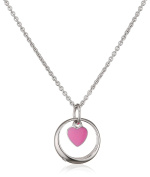 Xaana Children's Necklace with Pendant baptism pendant baptism ring 925 silver rhodium plated Round White CZ 38cm – AMZ0441