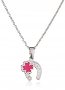 Xaana Children's Necklace with Pendant Kids Favourite Horseshoe Shamrock 925 silver rhodium plated 38 cm – AMZ0454