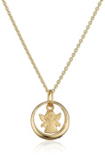 Xaana Children's Necklace with Pendant baptism pendant baptism ring 333 Yellow Gold Synthetic Blue Sapphire Round Cut 38cm – AMZ0468