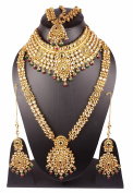 Indian Bollywood Style Gold Plated Kundan Stone Indian Necklace Earrings Bridal Set Jewellery