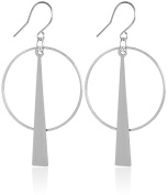 2LIVEFOR Modern Simple Round Triangular Silver Earrings Hoop Earrings Earrings Hoops Earrings Long Pendant