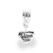 Liberty Charms Silver Plated I Love You Drop Charm Will Fit Most Charm Bracelets