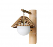 SZ & LAM Oriental Bamboo Wall Lamp with Glass Lampshade Pastoral for Restaurant Hotel Corduor Decorative Lighting
