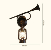 SZ & LAM Retro Iron Wall Lamp with Glass Lampshade Handmade Art for Bedroom Hotel Cafe Decoration Lighting
