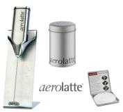 Aerolatte Cappucino Set - Steel Frother, Stencils Tin & Shaker Tin