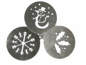 Eddingtons 3 Christmas Drink Stencils Coffee Hot Choc Snow Holly Stainless Steel