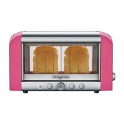 Magimix 2 Slice Vision Toaster Bread Baguettes Tray Kitchen Pink 1.45kw