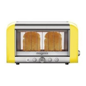 Magimix 2 Slice Vision Toaster Bread Baguettes Tray Kitchen Yellow 1.45kw