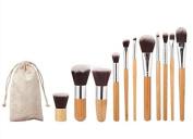 Forever C Beauty Bamboo Makeup Brush - 10pcs Set Synthetic Advanced Cosmetic Brush Set Basic Makeup Brush Powder Liquid Cream