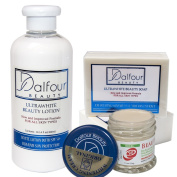 Dalfour Beauty Excel Face & Body Whitening Set - Body Lotion with SPF50, Gold Seal EXCEL Whitening Cream & Soap
