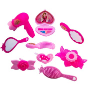 TukTek Kids First 10 Piece Pink Brush Hair Clip Comb Dryer & Beauty Pretend Makeup Toy Play Set w/ Mirrors for Girls & Boys