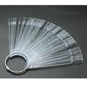 HUELE 3 Set Transparent Fan-shaped Nail Art Tips Display Polish Board Display Practise Sticks Tool with Metal Split Ring Holder ,Total 150 Tips