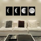 Modern Art Oil Painting Wall Sticker,Fheaven 4PCS Framed Modern Art Print on Canvas Home Wall Decor Poster Abstract The Moon