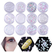 NICOLE DIARY 12 Patterns Holo Glitter Flakies Powder Set Star Heart Pearl Colourful Sequins Paillette for Nail Art Makeup