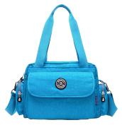 Baby Nappy Tote Bag Waterproof Adjustable Insulation Stroller Mummy Shopping Handbag with Bottle Pockets Shoulder Bag Blue