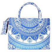 Royal Blue Coloured Mandala Printed Beach Bag