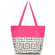 Zodaca Large All Purpose Travel Tote Bag, Grey Greek Key with Pink Trim