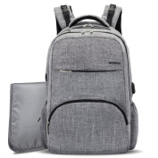 Baby Nappy Bag Backpack with USB Charging Port,BRINCH . Unisex Nappy Backpack Insert Organiser for Boys / Girls, with Changing Pad,Stroller Straps & Insulated Pockets for Mom / Dad,Grey