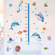 Wallpark Cartoon Cute Playing Dolphin Fish Seaweed Coral Height Sticker, Growth Height Chart Measuring Removable Wall Decal, Children Kids Baby Home Room Nursery DIY Decorative Art Wall Mural