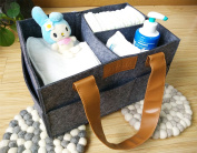 Nappy Storage Caddy By Danha – Portable Nappy Bag And Stacker With Beautiful Felt With Leather Handle Unisex Design – Changing Table Storage Basket And Nappy Caddy