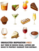 Quiplip UI656PCK Sugar Booze Birthday Greeting Cards